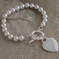 Personalised Silver Ball Bracelet