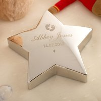 Image of Engraved 'Baby's Footprints' Silver Star Paperweight