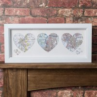 Personalised Trio of Heart Maps - Maps Gifts