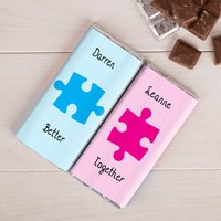 Personalised Set Of Two Chocolate Bars - Go Together Puzzle Pieces - Puzzle Gifts