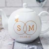 Personalised Bone China Teapot - Two Rings - Teapot Gifts