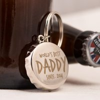 Personalised Bottle Top Keyring With Bottle Opener - World's Best Daddy - Bottle Opener Gifts