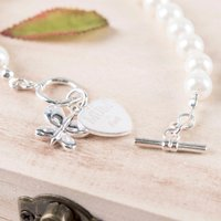 Engraved Butterfly Charm Pearl Bracelet - Names - Charm Gifts