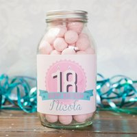 Personalised Jar Of Strawberry Bonbons - 18th Birthday - 18th Gifts