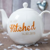 Personalised Bone China Teapot - We Got Hitched