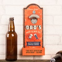 Personalised Dad's Beer Wall Plaque Bottle Opener - Any Message - Beer Gifts
