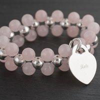 Personalised Double Rose Quartz Bracelet