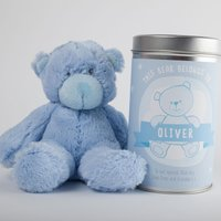 Personalised Baby Boy Teddy In A Tin - Baby Boy Gifts