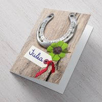 Personalised Card - Good Luck Horse Shoe - Horse Gifts