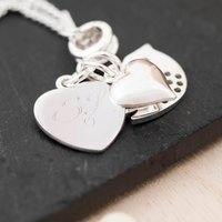 Engraved Heart & Bird Charm Necklace - Initials - Charm Gifts