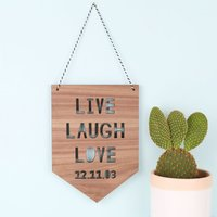 Personalised Lisa Angel 'Live Laugh Love' Hanging Wooden Sign - Laugh Gifts