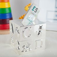 Engraved Silver Cube ABC Money Box