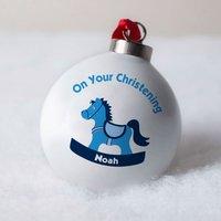 Personalised Bone China Bauble - Blue Christening Toy Horse - Horse Gifts