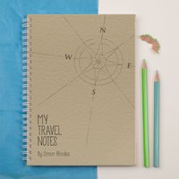 Personalised Notebook - Travel Notes Compass - Travel Gifts