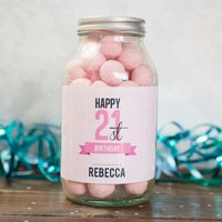 Personalised Jar Of Strawberry Bon Bons - 21st Birthday - 21st Birthday Gifts