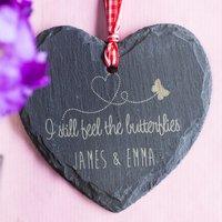 Personalised Heart-Shaped Slate Hanging Keepsake - Butterflies - Butterflies Gifts