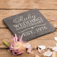Personalised Slate Coaster - Ruby Anniversary - Wedding Anniversary Gifts