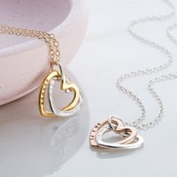 Personalised Posh Totty Designs Interlinking Hearts Necklace With Gold - Posh Gifts