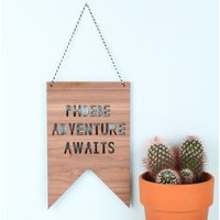 Personalised Lisa Angel 'Adventure Awaits' Hanging Wooden Sign - Angel Gifts