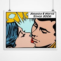 Personalised Kiss Sparks Comic Style Print - Style Gifts