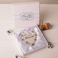 Love & Cherish Silver Plated Heart Plaque - For A Special Bridesmaid - Bridesmaid Gifts