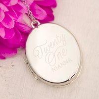 Engraved Oval-Shaped Locket Necklace - Twenty One