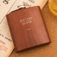 Personalised Harvey Makin Wood Look Hip Flask - Wood Gifts
