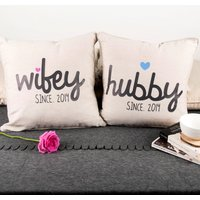 Personalised Set of 2 Cushions - Hubby & Wifey - Cushions Gifts