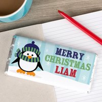 Personalised Chocolate Bar - Percy Penguin - Penguin Gifts