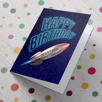 Personalised Card - Happy Birthday Space Ship - Space Gifts