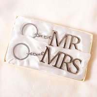 Set of 2 Silver-Plated Keyrings - Mr & Mrs - Keyrings Gifts