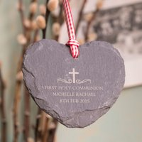 Personalised Heart-Shaped Slate Hanging Keepsake - Holy Communion - First Holy Communion Gifts