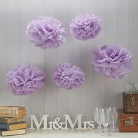 Vintage Lace - Lilac Tissue Paper Pompoms - Lilac Gifts