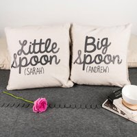 Personalised Set Of 2 Cushions - Big Spoon, Little Spoon - Cushions Gifts