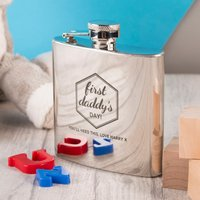 Engraved Stainless Steel Hip Flask - First Daddy's Day - Hip Flask Gifts