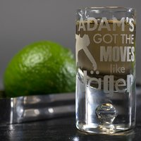 Personalised Shot Glass with Miniature - Moves Like Jäger - Shot Glass Gifts