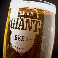 Personalised Giant Beer Glass - His Beer - Beer Glass Gifts