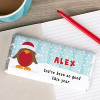 Personalised Chocolate Bar - Snow Robin - Robin Gifts