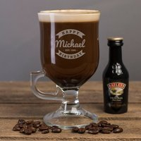 Personalised Irish Coffee Glass With Baileys Miniature - Happy Birthday - Baileys Gifts
