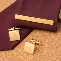 Personalised Stratton Gold-Plated Tie Slide and Cufflink Set