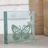 Spaceform Medium Glass Paperweight - 'First Communion' Butterflies - Butterflies Gifts