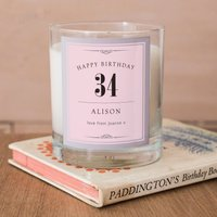 Personalised Scented Candle - Birthday Pink - Candle Gifts