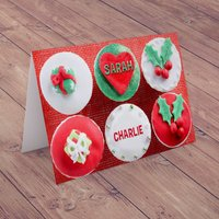 Personalised Christmas Card - Christmas Cupcakes - Cupcakes Gifts