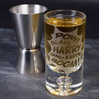 Personalised Shot Glass - POW! BLAM! KAPOW! BOOM! - Shot Glass Gifts