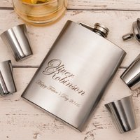 Personalised Hip Flask & Cups Travel Set - Name & Surname - Cups Gifts
