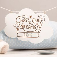 Personalised Wooden Cloud Plaque - Chase Your Dreams