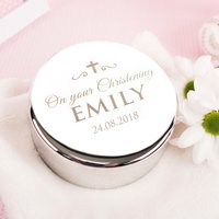 Engraved Circular Trinket Box - On Your Christening