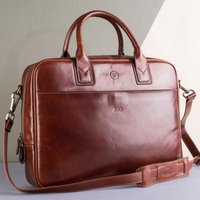 Embossed Calvino Italian Leather Business Bag - Italian Gifts