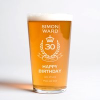 Personalised Pint Glass - 30th Birthday Crest - 30th Gifts