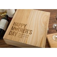 Personalised 3 Bottle Luxury Wooden Wine Box - Happy Mother's Day